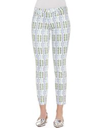 Tory Burch Alexa Printed Cropped Skinny Pants - Lyst
