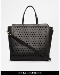 Asos Leather Bag with Perforated Front Panel - Lyst