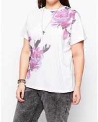 Asos Curve Exclusive T-Shirt With Floral Placement Print - Lyst