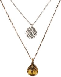 Lucky Brand Twotone Bee and Honeycomb Tworow Pendant Necklace - Lyst
