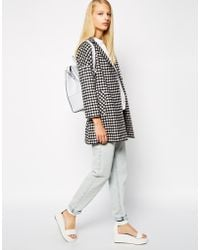 Helene Berman Tweed One Button Swing Coat in Check - Lyst