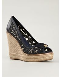 Tory Burch Lace Wedge Espadrilles - Lyst
