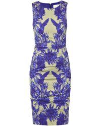 Nicole Miller Chinoiserie Dress Blue - Lyst