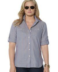 Ralph Lauren Roll Sleeve Stripe Shirt - Lyst