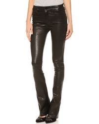 J Brand Leather Remy Bootcut Pants Noir - Lyst