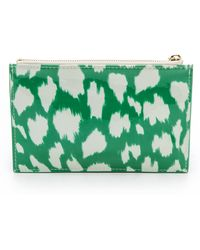 Kate Spade Painterly Cheetah Ikat Pencil Pouch - Painterly Cheetah Ikat Green - Lyst