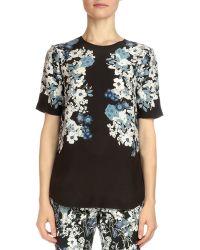 Erdem - - Reena Floral-print Silk Top - Black - Lyst