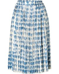 RED Valentino Silk Twill Pleated Midiskirt - Lyst