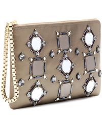 Lanvin Embellished Satin and Leather Clutch - Lyst