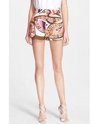 Emilio Pucci Women'S Flower Power Print Stretch Cotton Shorts - Lyst