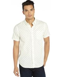 Howe White and Green Linen Woven Short Sleeve Jump Lo Mix Geo Print Shirt - Lyst
