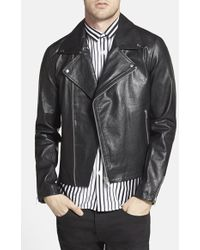 Topman Men'S Black Leather Biker Jacket - Lyst
