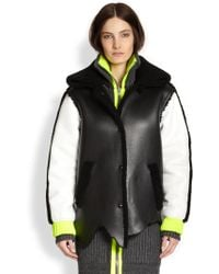 Alexander Wang Shearling-Trimmed Leather Varsity Jacket - Lyst
