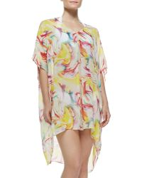 Alice + Olivia Dune Sheer Printed Silk Coverup - Lyst