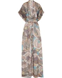 Issa Printed Metallic Silkchiffon Maxi Dress - Lyst