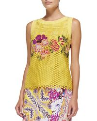 Etro Sleeveless Embroidered Lace Top - Lyst