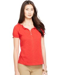 Lauren by Ralph Lauren Embroidered Smocked Cotton Top - Lyst