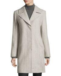 Fleurette - Herringbone Notched-collar Coat - Lyst