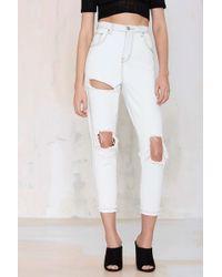 Nasty Gal Costa Boyfriend Jeans white - Lyst