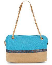 Saks Fifth Avenue - Stripe-accent Straw Shoulder Bag - Lyst