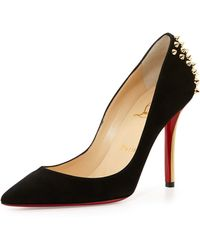 Christian Louboutin Zappa Spiked Suede Red Sole Pump - Lyst