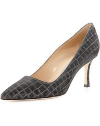 Manolo Blahnik Bb Metallic Crocprint 70mm Pump - Lyst