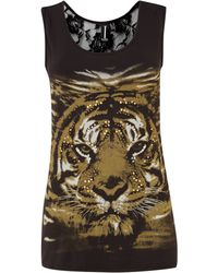 Izabel London Tiger Print Lace Top - Lyst