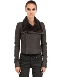 Rick Owens Classic Shearling Nappa Leather Jacket - Lyst