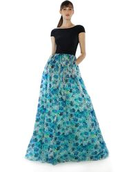 Theia | blue Floral Printed Organza Ball Gown | Lyst