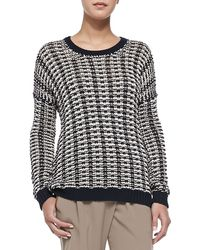 Vince Mercerized Two-tone Knit Sweater - Lyst
