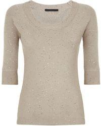 Les Copains Sequin Scoop Neck Sweater - Lyst