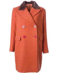 Sacai Houndstooth Double Breasted Coat - Lyst