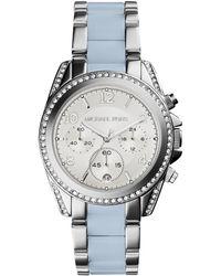 Michael Kors Blair Crystal, Silvertone Stainless Steel And Acetate Watch - Lyst