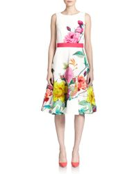 P.A.R.O.S.H. Floral Pleated Dress - Lyst