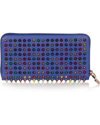Christian Louboutin Panettone Spiked Leather Wallet purple - Lyst