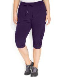 Calvin Klein Performance Plus Size Ruched Capri Pants - Lyst