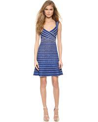 Hervé Léger Sleeveless Dress - Blue Sapphire Combo - Lyst