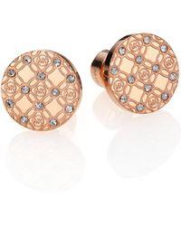 Michael Kors Heritage Monogram Logo Stud Earrings/Rose Goldtone pink - Lyst