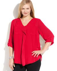 Calvin Klein Plus Size Long Sleeve Ruffled Blouse - Lyst