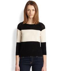 Cardigan | Rene Striped Openknit Wool Cotton Sweater | Lyst