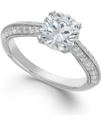 Marchesa Certified Diamond Engagement Ring In 18K White Gold (1-3/8 Ct. T.W.) - Lyst