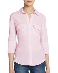 James Perse Ribbed Panel Button Front Top - Lyst