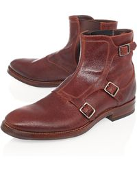 Alexander McQueen Brown Tri Buckle Strap Leather Boots - Lyst