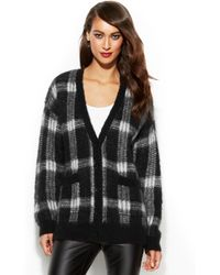 Michael Kors Michael Long-sleeve Oversized Plaid Cardigan - Lyst