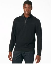 Calvin Klein Quarterzip Solid French Ribbed Knit Sweater - Lyst