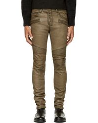 Balmain Olive Green Leather Classic Biker Trousers - Lyst