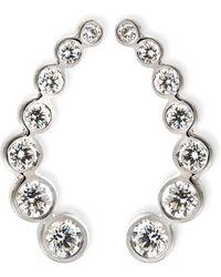 Rina Limor - 18k White Gold & Diamond Climber Earrings - Lyst