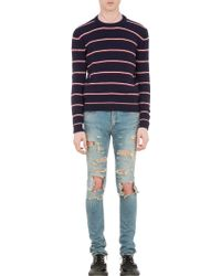 Saint Laurent Stripe Crew Neck Sweater - Lyst