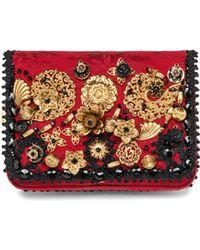Dolce & Gabbana Floral Embellished Jacquard Crossbody Bag - Lyst