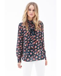 Forever 21 Tie-Neck Floral Blouse - Lyst
